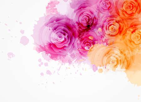 Abstrakter Hintergrund mit bunten Spritzern des Aquarells und rosafarbenen Blumen. Rosa und orange gefärbt. Vorlage für Ihre Designs wie Hochzeitseinladung, Grußkarte, Poster usw.
