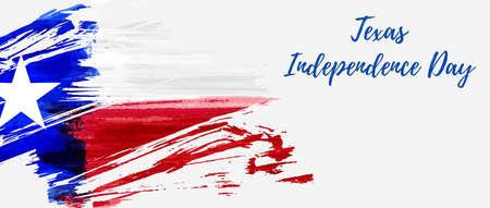 Fiesta del Día de la Independencia de Texas. Bandera de grunge de Texas - Lone Star. Plantilla para fondo de vacaciones, pancarta, invitación, póster, etc.