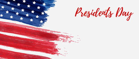 Fondo del día de los presidentes de Estados Unidos. Vector grunge abstracto cepillado bandera con texto. Plantilla para banner horizontal. Ilustración de vector