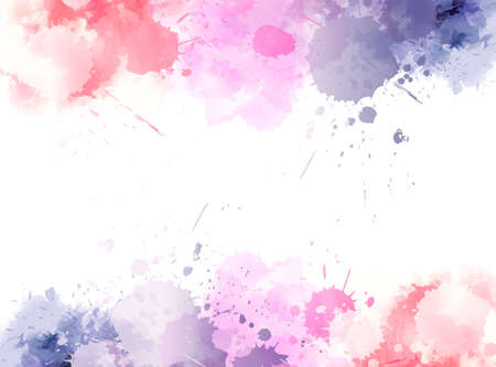 Banner background with colorful watercolor imitation splash blots frame. Template for your designs. Vector Illustratie