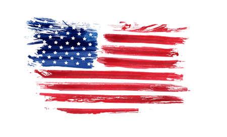 Bandera de grunge de Estados Unidos. Bandera del grunge abstracto del vector. Plantilla para banner de fiesta nacional de Estados Unidos de América, tarjeta de felicitación, invitación, cartel, volante, etc.
