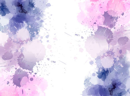 Banner background with colorful watercolor imitation splash blots frame. Template for your designs. Imagens - 125653992
