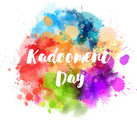 Święto Kadooment Day na Barbadosie. Akwarela abstrakcyjna wielokolorowa farba splash