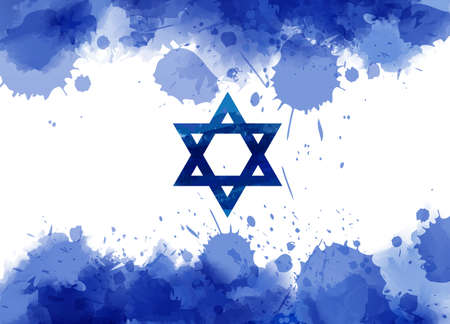 Abstract watercolor paint splashes flag of Israel. Template for national holiday background, banner, poster, invitation, etc