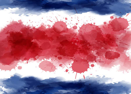 Abstract watercolor paint flag of Costa Rica. Template for national holiday background, poster, banner, invitation, etc Illusztráció