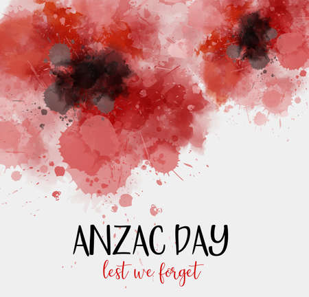Remembrance day symbol. Anzac Day. Lest we forget lettering. Red watercolor poppies. Illustration