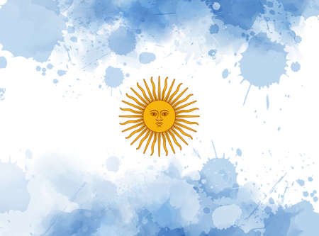 Argentine Republic abstract grunge watercolor flag. Brushed flag of Argentina for your designs.