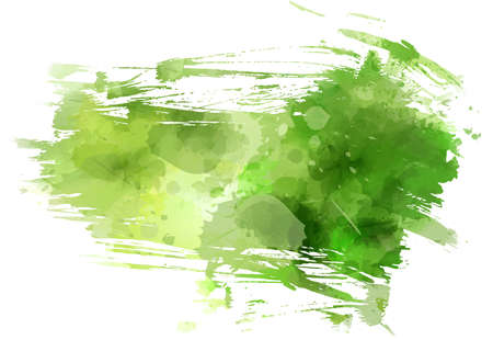 Abstract multicolored brushed grunge background. Green colored. Watercolor imitation painted.