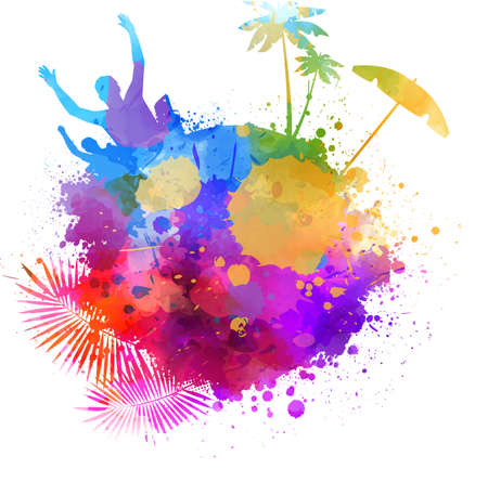 Abstract painted splash shape with silhouettes. Travel concept - partying, palm trees, sun umbrella. Multicolored.