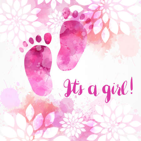 It's a girl! Baby gender reveal concept illustration. Watercolor footprints. Abstract floral background. Pink colored. Ilustração