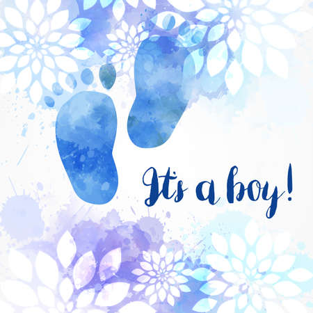 It's a boy! Baby gender reveal concept illustration. Watercolor footprints. Abstract floral background. Blue colored.