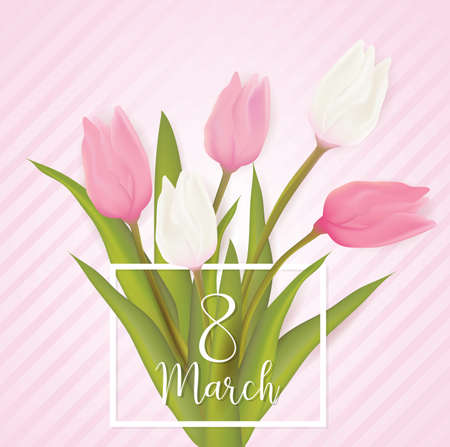 Womens day, 8 march greeting card with pink and white tulip flowers. With typography greeting message.