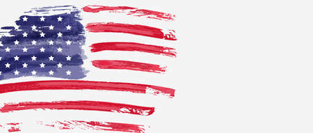 USA abstract grunge painted flag horizontal banner. Template for United States of America national holiday banner, greeting card, invitation, poster, flyer, etc. Ilustração