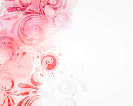 Abstract background with watercolor colorful splashes and floral swirl ornaments. Pink colored. Template for your designs, such as wedding invitation, greeting card, posters, etc.