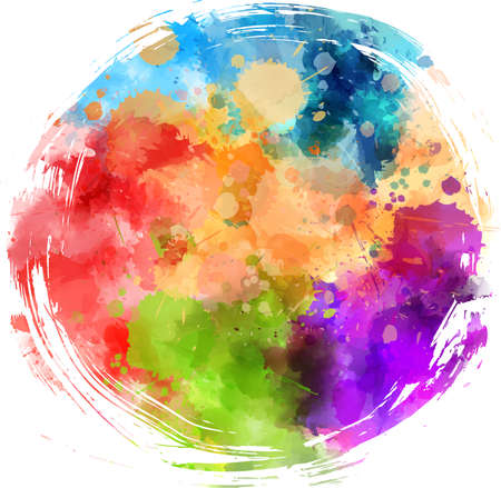 Multicolored splash watercolor grunge round background- template for your designs.