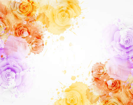 Abstract background with watercolor colorful splashes and rose flowers. Purple and orange colored. Template for your designs, such as wedding invitation, greeting card, posters, etc.