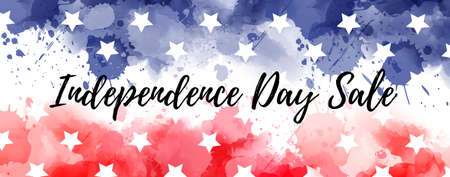 Abstract background with watercolor splashes in flag colors for USA Independence day sale banner. Blue and red colored with stars. Illustration