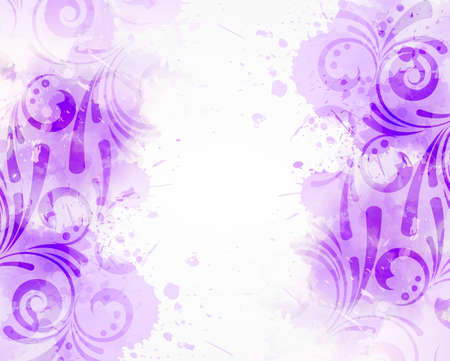 Abstract background with watercolor colorful splashes and floral swirl ornaments. Purple colored. Template for your designs, such as wedding invitation, greeting card, posters, etc.