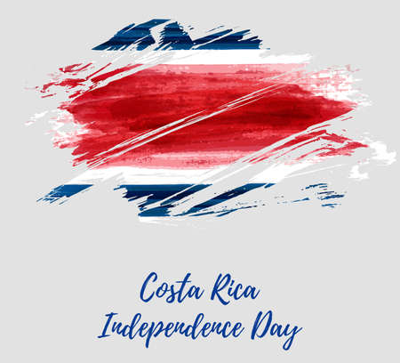 Costa Rica Independence Day. Abstract watercolor paint flag of Costa Rica. Template for national holiday background, poster, banner, invitation, etc