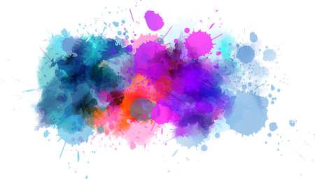 Línea de salpicaduras de pintura de acuarela de color azul y púrpura. Plantilla para tus diseños
