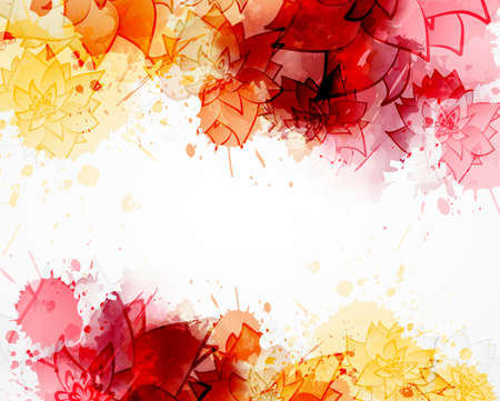 Abstract background with watercolor colorful splashes and abstract flowers. Orange and red colored. Template for your designs, such as wedding invitation, greeting card, posters, etc. Ilustração