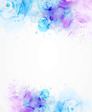 Abstract background with watercolor colorful splashes and rose flowers. Purple and blue colored. Template for your designs, such as wedding invitation, greeting card, posters, etc. Ilustrace