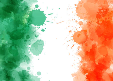 Watercolor abstract splashes background in Ireland flag colors. Template for national holidays or celebration background.