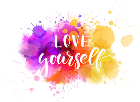 Love yourself - motivational handwritten modern calligraphy text. Multicolored watercolor paint splash. Иллюстрация