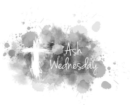 Miércoles de ceniza - Fiesta religiosa cristiana. Cruz de grunge sobre fondo gris ceniza abstracta. Ilustración de vector