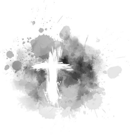 Aschermittwoch - christlicher religiöser Feiertag. Schmutzkreuz auf grauem abstraktem Aschehintergrund. Vektorgrafik