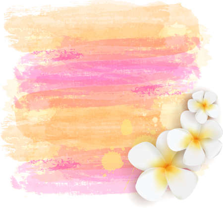 Background with abstract watercolor grunge brushed lines and tropical frangipani flowers. Summer travel concept background. Yellow and pink colored. Illustration
