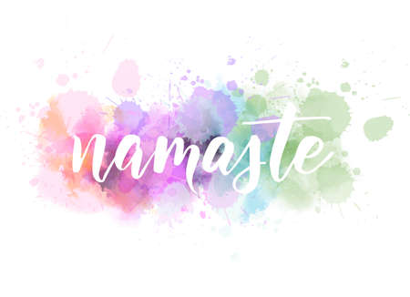 Namaste (Indian greeting, Hello in Hindi) handwritten modern calligraphy lettering on watercolor imitation splash paint background. Inspirational typography. Vettoriali