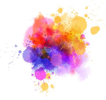 Mancha de pintura de acuarela multicolor splash - plantilla para tus diseños. Ilustración de vector