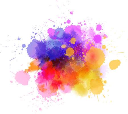 Wielobarwny plama farby akwarelowej zmaza - szablon dla swoich projektów.