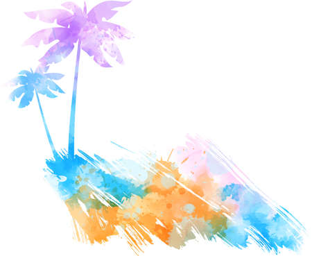 Abstract painted grunge brushed background with palm tree silhouettes. Travel concept. Multicolored.