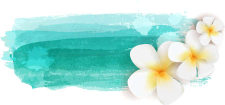 Plumeria flowers on teal colored watercolor imitation brushed banner - summer illustration Vector Illustration