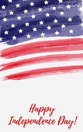 USA Independence day background. Happy 4th of July. Vector abstract grunge flag with text. Template for vertical banner, greeting card, invitation, poster, flyer, etc.