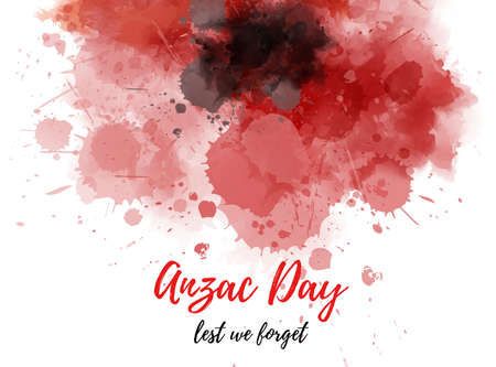 Remembrance day symbol. Anzac Day. Lest we forget lettering. Red watercolor painted poppy Banque d'images - 130733647