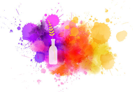 Bottle vase with abstract flower on watercolor paint splash. Spring concept. Vector Illustration