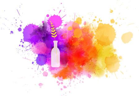 Vaso bottiglia con fiore astratto su schizzi di pittura ad acquerello. concetto di primavera. Vettoriali
