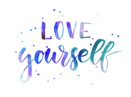 Love yourself - motivational handwritten modern calligraphy watercolor text. Multicolored. With abstract dots decoration.