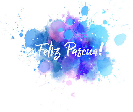 Feliz Pascua - Happy Easter in Spanish. Abstract watercolor imitation splash background with calligraphy text. Easter concept background.