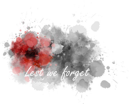 Abstract gray watercolor paint splash with red painted poppy. Lest we forget. Remembrance day or Anzac day symbol. Illustration