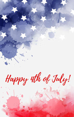 USA Happy 4th of July background. Abstract grunge watercolor paint splashes in flag colors with text. Template for holiday banner, invitation, flyer, etc.