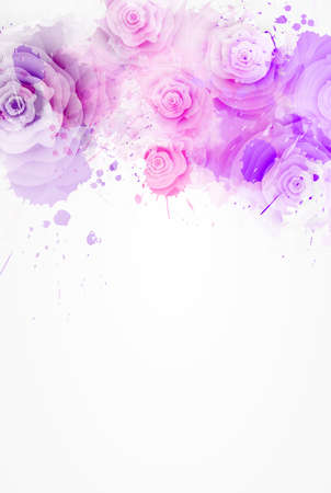 Abstract background with watercolor colorful splashes and rose flowers. Red and pink colored. Template for your designs, such as wedding invitation, greeting card, posters, etc.
