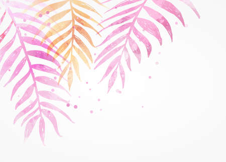 Abstract watercolor imitation tropical palm leaves. Trendy summer vacation background. Yellow and pink colored. Stock Illustratie