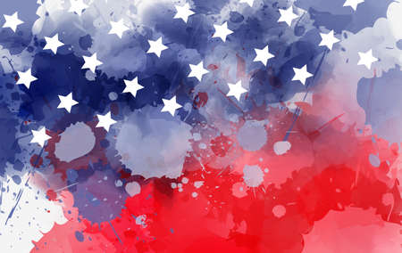Abstract background banner with watercolor splashes in flag colors for USA. Template background for national holidays - Independence day, Memorial day, Labor day etc. Blue and red colored with stars.