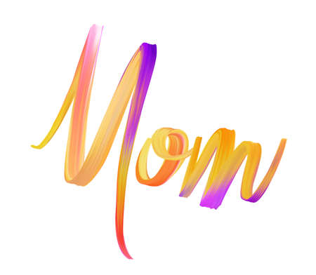 Mom - painted lettering with abstract flow brush stroke acrylic paint design element. Mother's day holiday concept illustration. Banque d'images - 122594995