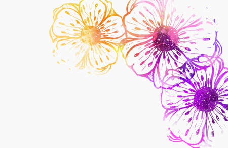 Background with watercolor colorful abstract flowers. Purple and orange colored. Template for your designs, such as wedding invitation, greeting card, posters, etc.