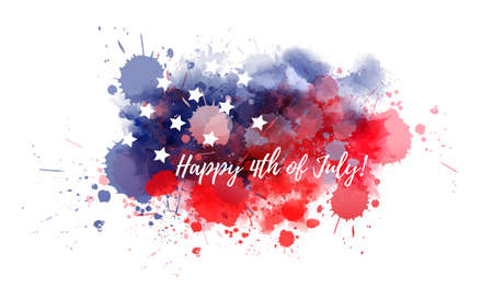 Happy 4th of July holiday in United States of America. Abstract watercolor background with stars in colors of USA flag.  イラスト・ベクター素材
